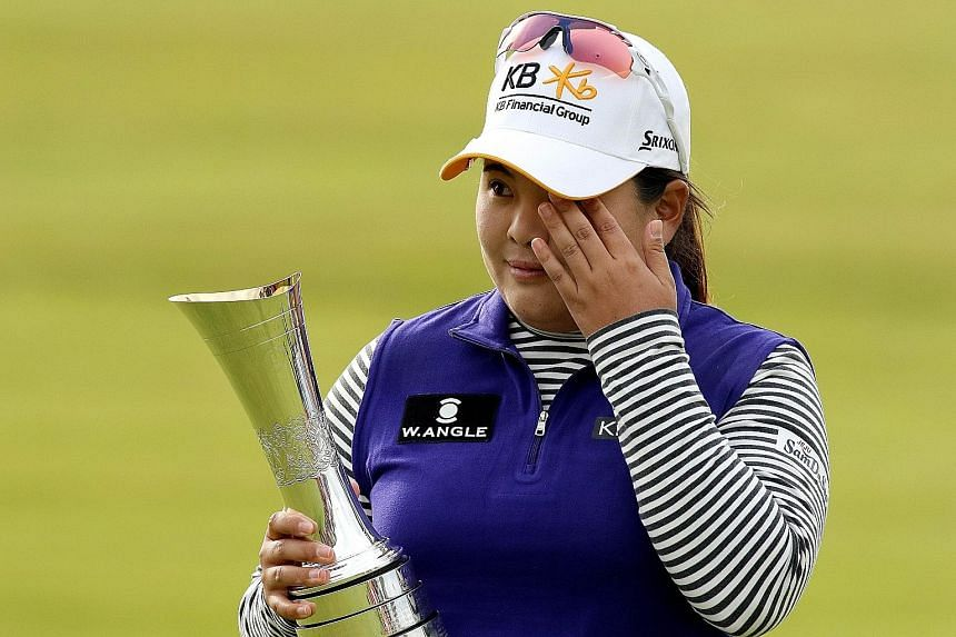 Park In Bee wipes away a tear after clinching the women's British Open title last month. She has won seven Majors and aims to add to that tally by winning the Evian Championship, which starts today.