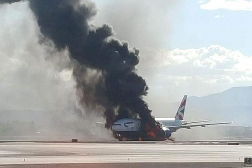 British Airways Flight 2276 was at McCarran International Airport in Las Vegas en route to London when its left engine caught fire. All 159 passengers and 13 crew members were evacuated. The blaze was quickly put out by some 50 firefighters who rushe