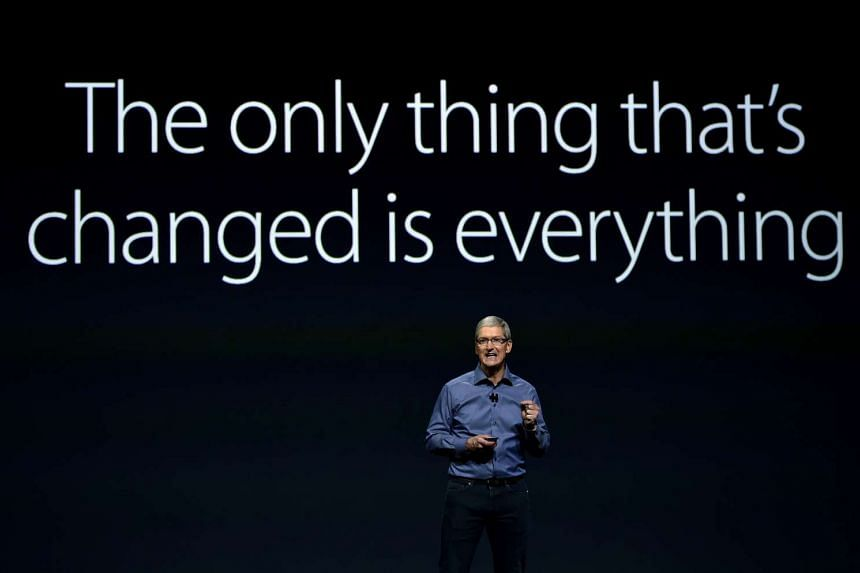 Apple CEO Tim Cook speaks during a media event in San Francisco, California on Sept 9, 2015.