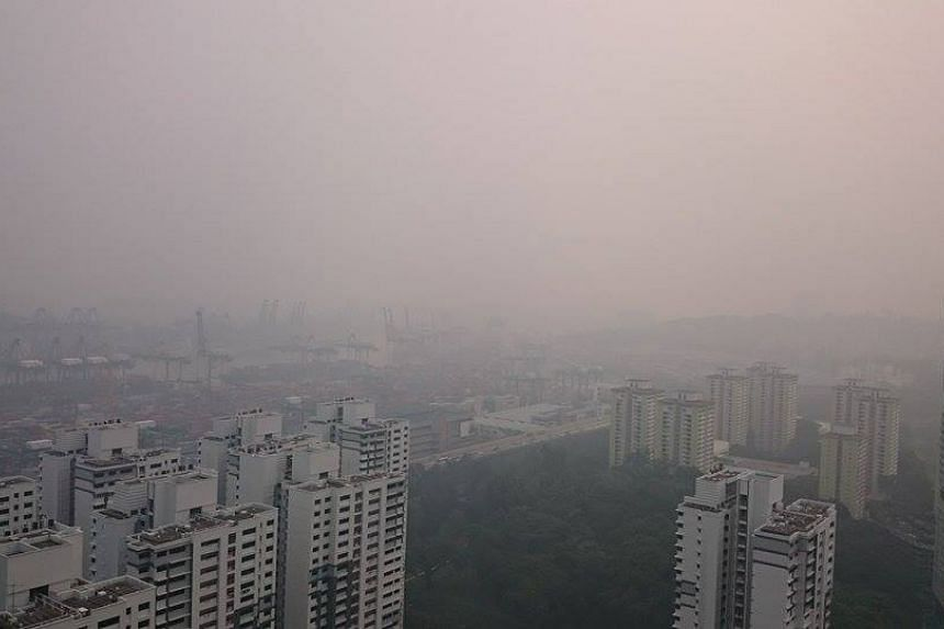 Southern Singapore can be seen shrouded in haze from the Pinnacle@Duxton at 5.17pm.