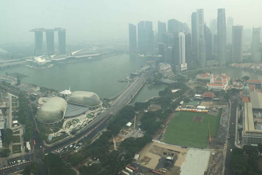 Hazy conditions in the CBD as seen from the Swissotel at 4pm on Sept 10.