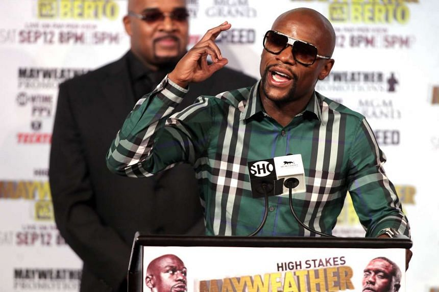 Floyd Mayweather Jr. speaks during a press conference with Andre Berto on Sept 9, 2015 at the MGM Grand in Las Vegas.