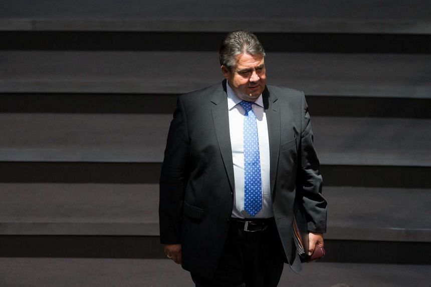 German Vice-Chancellor, Economy and Energy Minister Sigmar Gabriel arriving at the Bundestag, the lower house of parliament, on Aug 10, 2015.