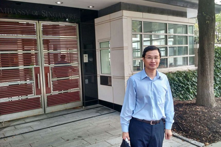 Mr Leow Wei Jen, 50, a Marine Parade constituent, was the first through the door at the Singapore Embassy in Washington DC.