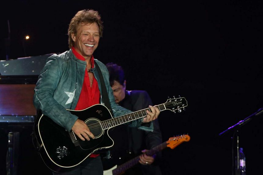 To promote the band's concerts in China, lead singer Bon Jovi (above) recently recorded a video of him singing a Mandarin cover of The Moon Represents My Heart.
