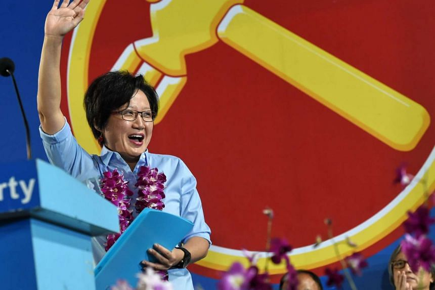 WP chairman Sylvia Lim waving to supporters at a rally on Sept 9.