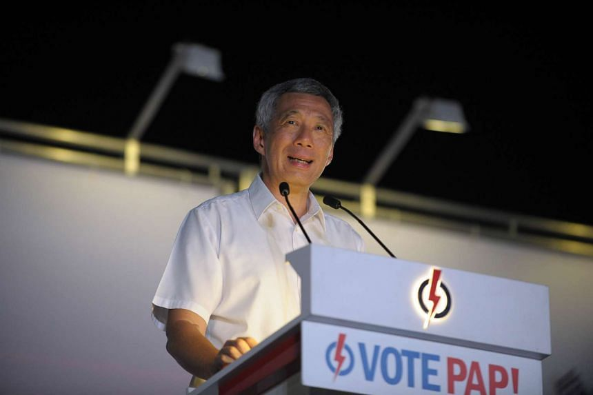 Prime Minister Lee Hsien Loong speaking at a PAP rally on Sept 9.