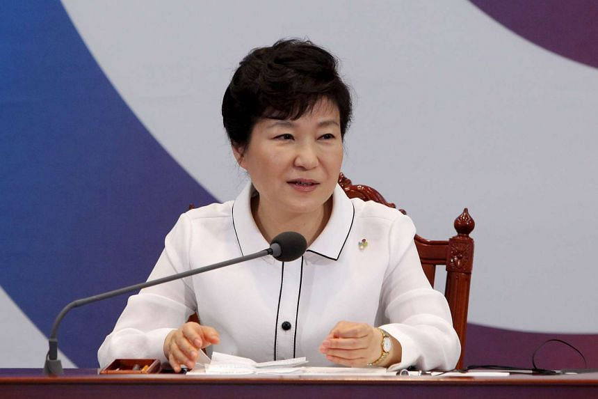 South Korean President Park Geun-hye speaks during a meeting with g global health experts at the presidential Blue House in Seoul, South Korea