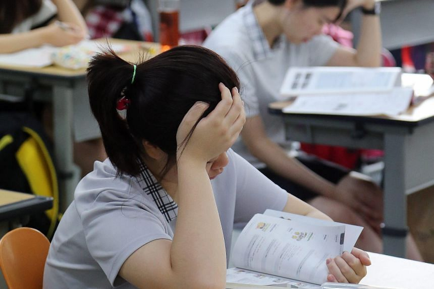 High school students preparing for a test in South Korea. The proposal for a state history textbook was raised after a high school textbook put out by right-leaning Kyohak Publishing was found to be full of factual errors.