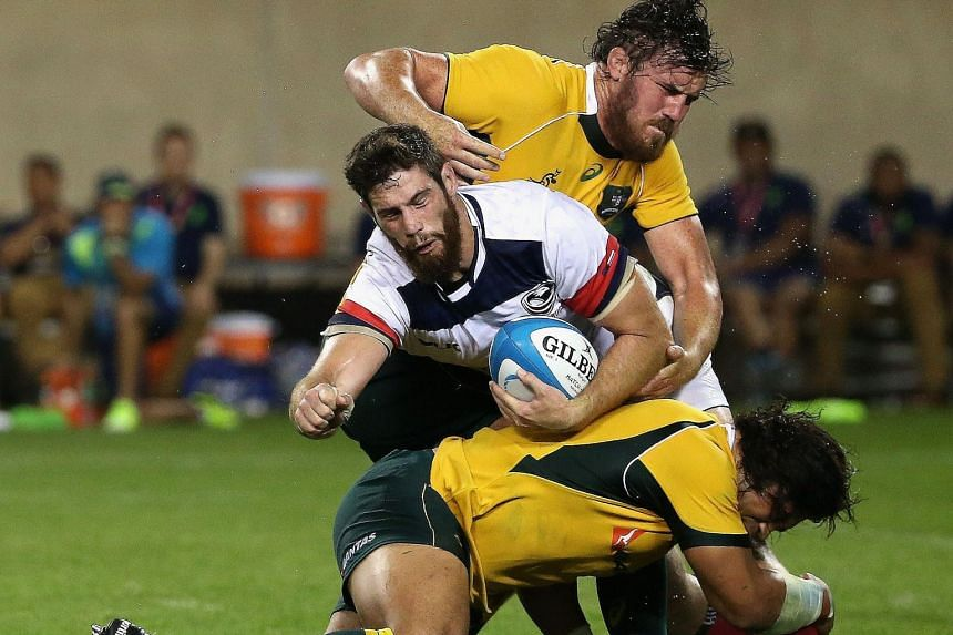 Australia (in yellow) took on the United States in Chicago last Saturday in their run-up to the World Cup. They won 47-10.