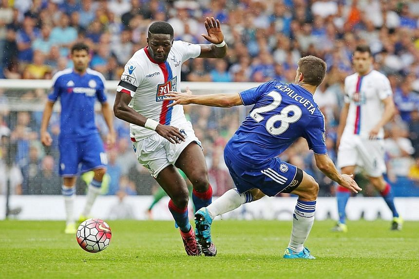 Crystal Palace's pacey Bakary Sako giving the Chelsea backline, including left-back Cesar Azpilicueta, a torrid afternoon in a 2-1 upset at Stamford Bridge last month. Palace have triumphed in both their two away league games so far, with their poten