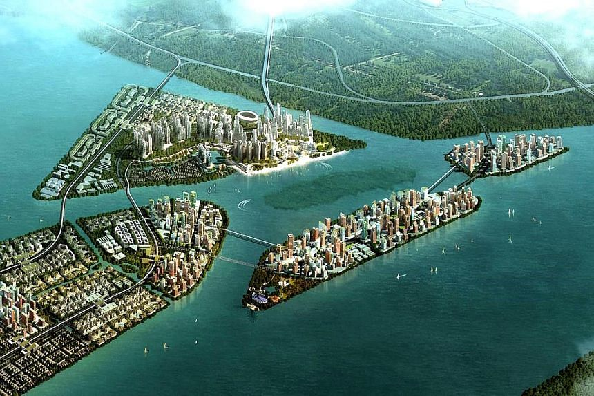 An artist's drawing of Country Garden's Forest City project in Johor.