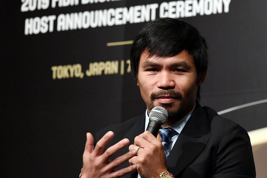 Manny Pacquiao at the final announcement session at the 2019 FIBA Basketball World Cup host announcement ceremony in Tokyo on Aug 7, 2015.