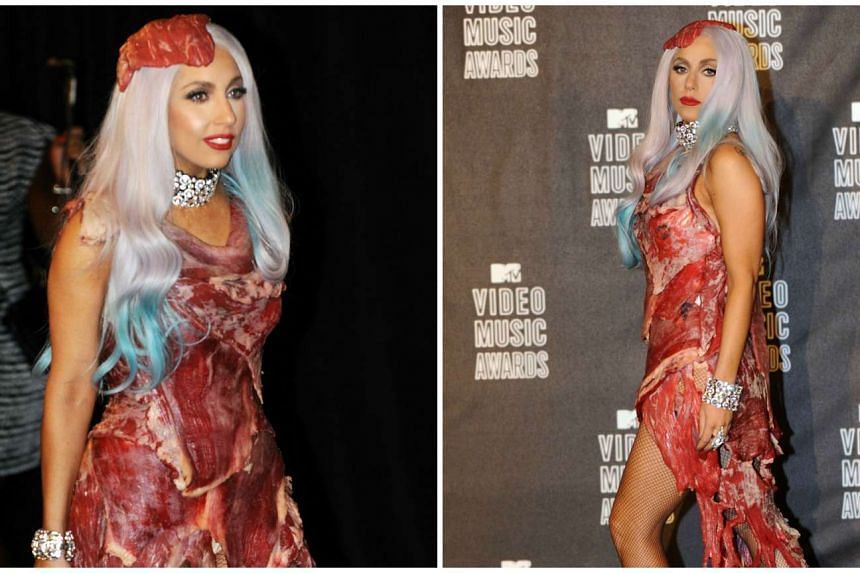 Lady Gaga wearing the dress - sewn from several layers of Argentinian beef – in 2010.