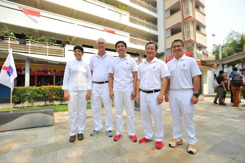 The Marine Parade PAP team: (from left) Dr Fatimah Lateef, ESM Goh Chok Tong, Mr Tan Chuan-Jin, Mr Seah Kian Peng and Mr Edwin Tong, during a media doorstop outside PAP branch office after visiting residents of Marine Parade GRC at 50A Marine Terrace