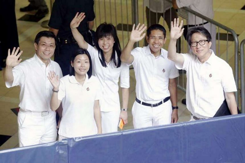 PAP's East Coast GRC candidates (from left) Mr Lee Yi Shyan, Cheryl Chan, Ms Jessica Tan, Mr Mohamad Maliki Osman and Mr Lim Swee Say during Nomination Day.