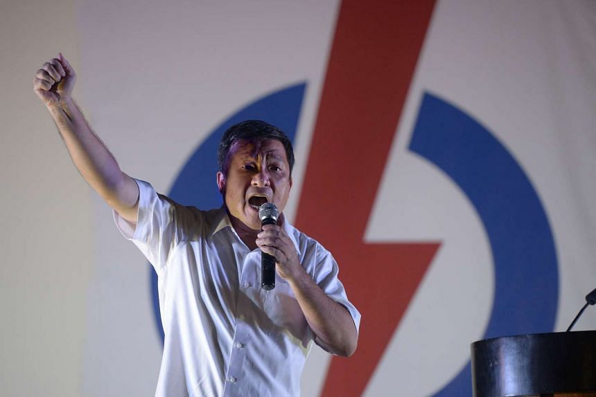 PAP's candidate for Potong Pasir SMC, Mr Sitoh Yih Pin, speaking at his rally at Potong Pasir on Sept 9, 2015.