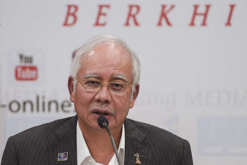 Malaysian Prime Minister Najib Razak speaking at a news conference after an Umno party supreme council meeting in Kuala Lumpur on Sept 9, 2015.