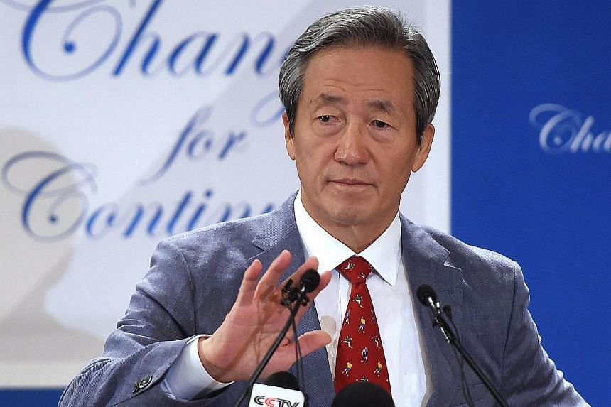 South Korean FIFA Honorary Vice President Chung Mong Joon announcing his candidacy for the upcoming FIFA presidential elections in February 2016, to replace FIFA president Sepp Blatter on Aug 17, 2015 in Paris.