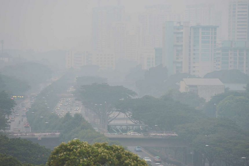 The view of the Jalan Toa Payoh stretch of the Pan-Island Expressway obscured by the haze at 6.50pm yesterday. The three-hour Pollutant Standards Index reading at 7pm was 174. By 11pm, the three-hour PSI was 207, breaching the very unhealthy mark of