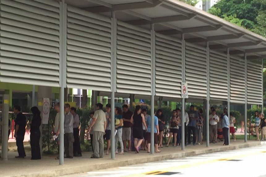 Voters queueing at Cantonment Primary School.