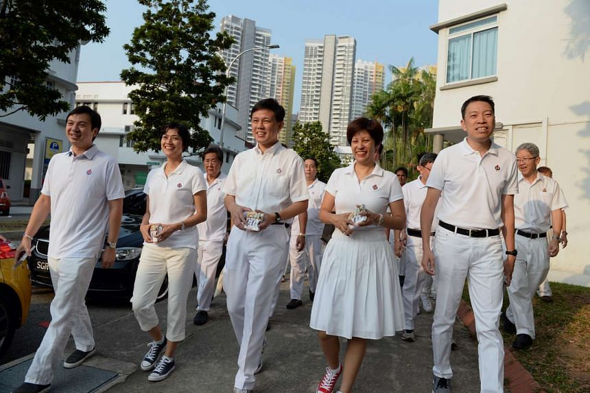PAP candidates for Tanjong Pagar GRC (from left) Dr Chia Shi-Lu, Ms Joan Pereira, Mr Chan Chun Sing, Ms Indranee Rajah and Mr Melvin Yong.