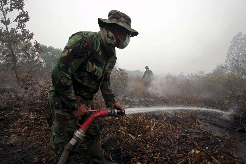 An Indonesian soldier sprays water on a burning peatland in Kampar, in Indonesia's Riau province on Sept 11, 2015.