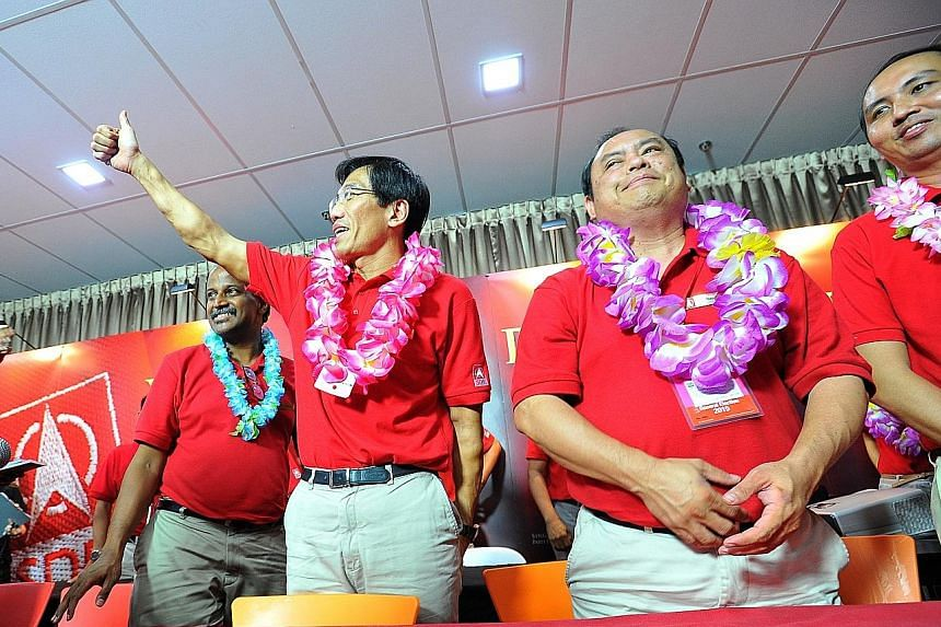 Dr Chee Soon Juan (second from left) and his SDP team won just 33.4 per cent of the votes in Holland-Bukit Timah GRC.