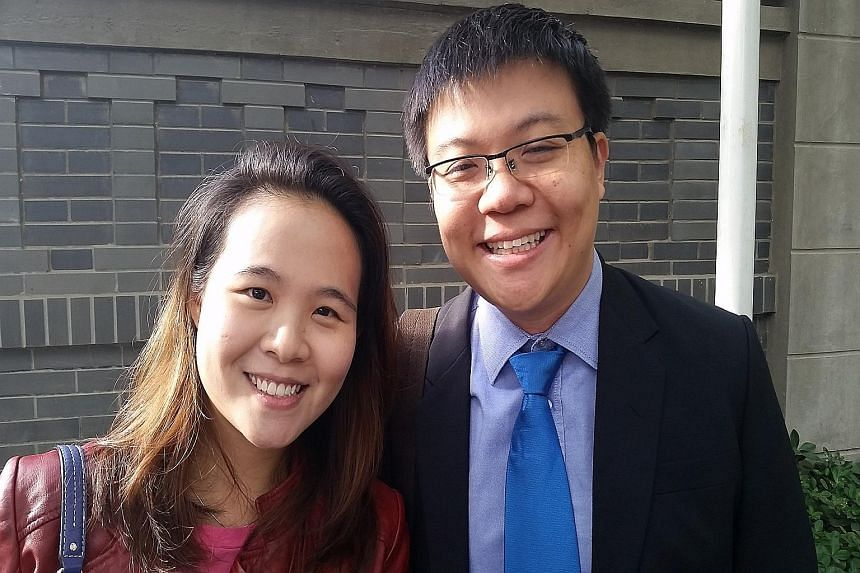 Mr Spencer Hsu and his wife Shane Yan, 29, an entrepreneur, were among the earliest to vote at the Singapore Embassy in Beijing. Undergraduate Saishreyas Sundarajoo took a six-hour train ride from Wuhan in Hubei to Beijing to vote at the Singapore Em