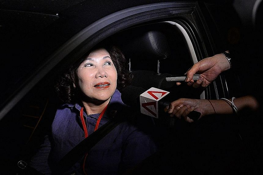 Mrs Lina Chiam left after the sample count showed her opponent clearly in the lead.