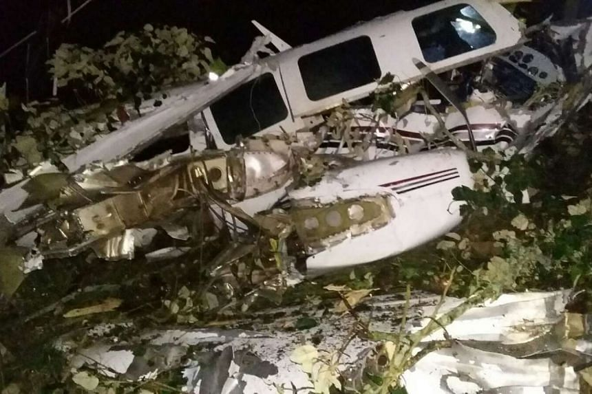 The remains of the crashed plane in San Pedro, Colombia on Sept 11, 2015.