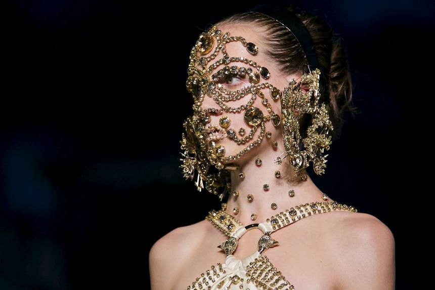 A model presents a creation from the Givenchy Spring/Summer 2016 collection during New York Fashion Week in New York on Sept 11, 2015.