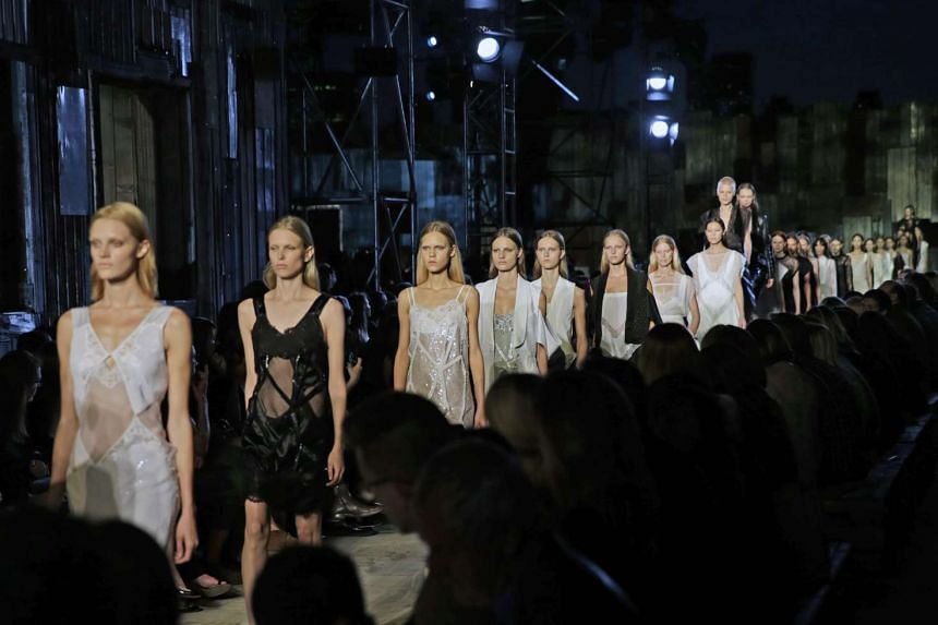 Models present creations from the Spring 2016 collection by Givenchy, during New York Fashion Week in New York, New York, USA, on Sept 11, 2015.