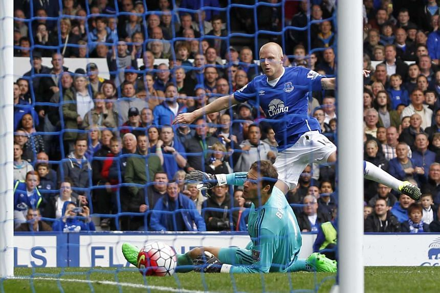 Everton's Steven Naismith completing his hat-trick against Chelsea.