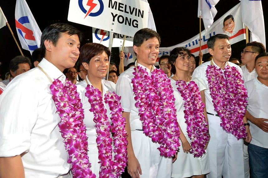 Tanjong Pagar GRC candidates (from left) surgeon Chia Shi-Lu, Senior Minister of State for Education and Law Indranee Rajah, labour chief Chan Chun Sing, former public servant Joan Pereira and retired police assistant commissioner Melvin Yong.