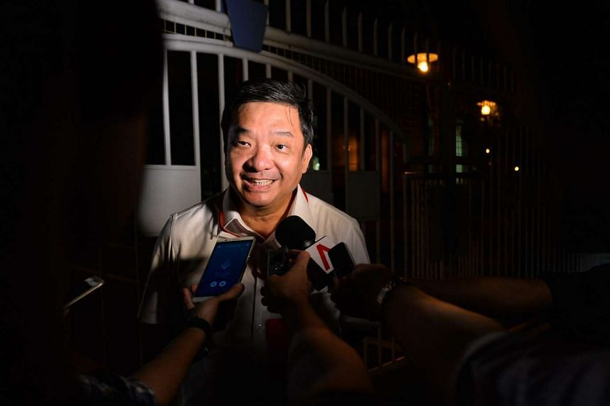 Mr Sitoh Yih Pin talking to reporters before the results