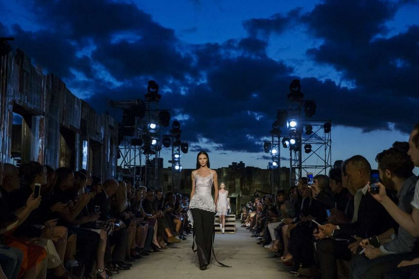 A model presents a creation from the Givenchy spring/summer 2016 collection at New York Fashion Week on Sept 11, 2015.