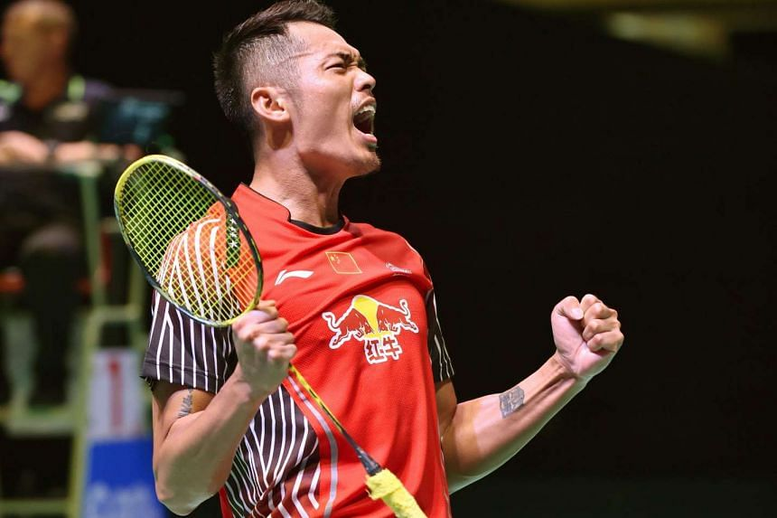 Lin Dan of China celebrating after defeating Denmark's Viktor Axelsen in the men's singles final match at the Japan Open Superseries badminton tournament in Tokyo on Sept 13, 2015.
