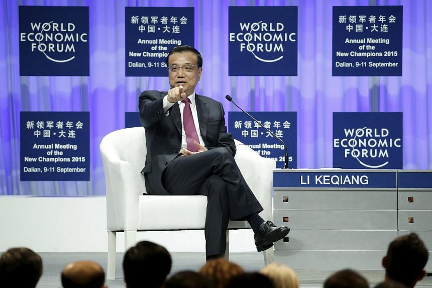 China's Premier Li Keqiang speaks at the opening ceremony of the WEF Annual Meeting of the New Champions in China's port city Dalian on Sept 10, 2015.