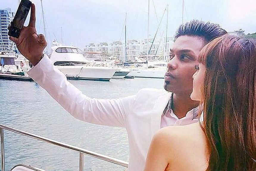 Mr Vicnesh Raja, a relationship manager with an IT company, 29, proposed to his girlfriend, Ms Arveen Kaur (both left), 27, a teacher, on a yacht on Valentine's Day this year.