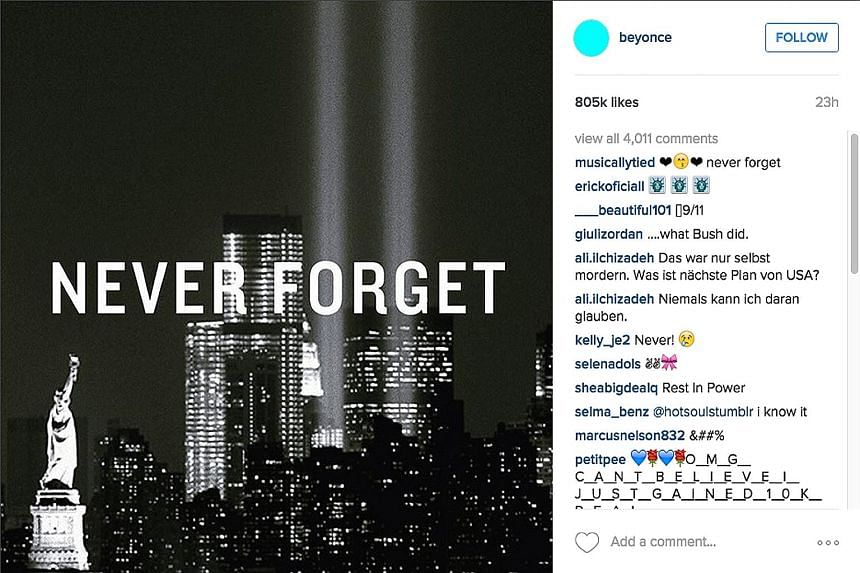 Netizens paid tribute to victims of 9/11, with a photo by pop singer Beyonce garnering 805,000 likes within 24 hours. The Workers' Party rally in Punggol Field Walk on Sept 5. Political pundits online had pointed to the massive turnout at WP rallies