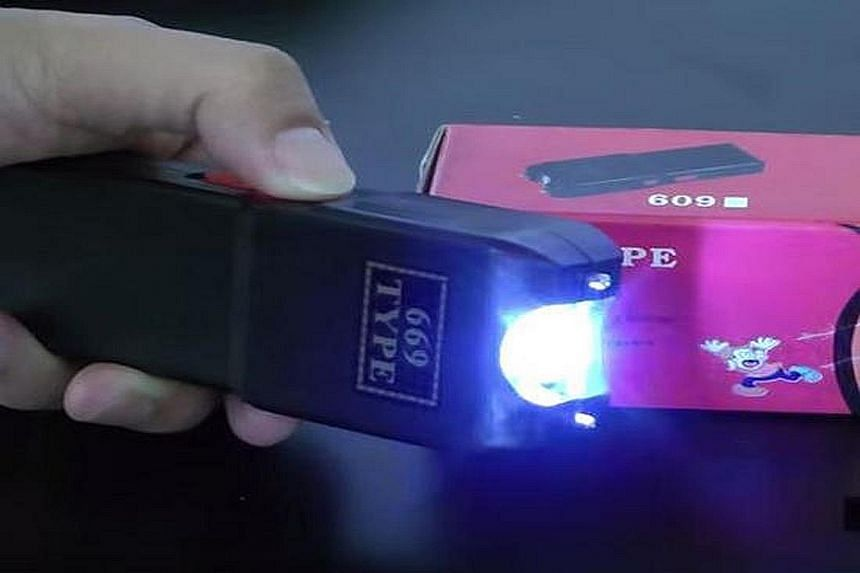 Stun guns like this 669 Type are available at night markets and electronics shops in Penang. Nearly all stun guns come with an LED light to provide a flashlight function, with some looking exactly like torches.