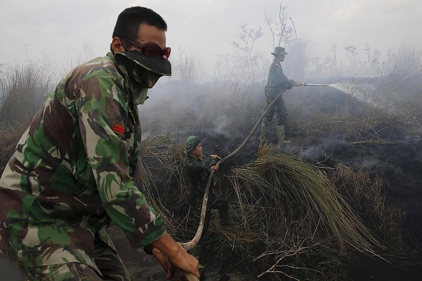 Indonesian soldiers trying to extinguish a fire at a palm oil plantation in Indonesia's South Sumatra province yesterday. Jambi and South Sumatra provinces have recorded the most fires in the past week.