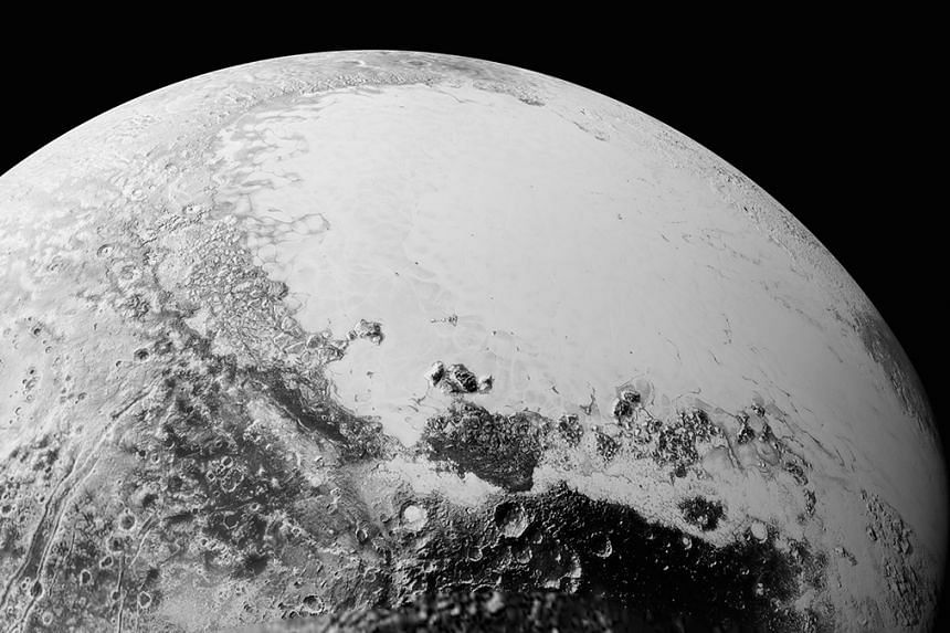 A synthetic perspective of Pluto, based on the latest high-resolution New Horizons images.