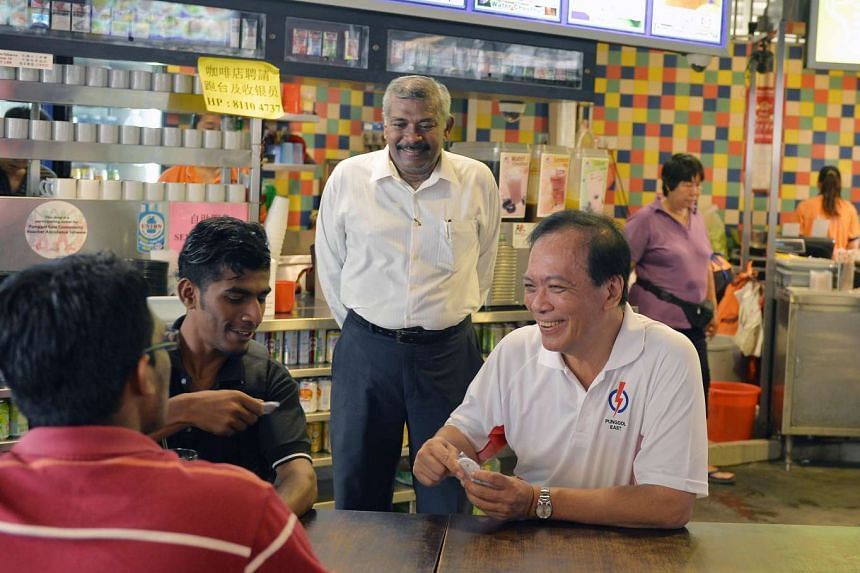 Mr Charles Chong on the campaign trail in Rivervale Crescent. He had represented some of the residents in the area while he was an MP for Pasir Ris-Punggol GRC from 2001 to 2011.
