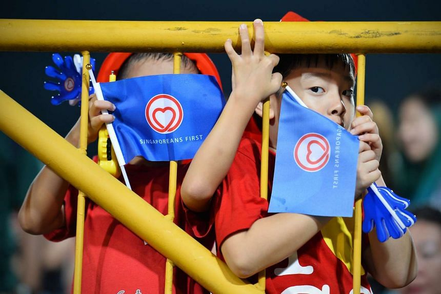 Children at a Singaporeans First rally for Tanjong Pagar GRC held at Queenstown Stadium on Sept 9.