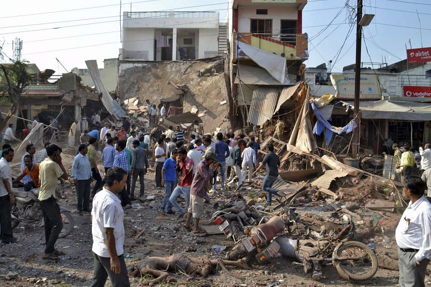 Police are hunting for businessman Rajendra Kasawa following Saturday's blast that tore apart the restaurant building complex in Madhya Pradesh state.