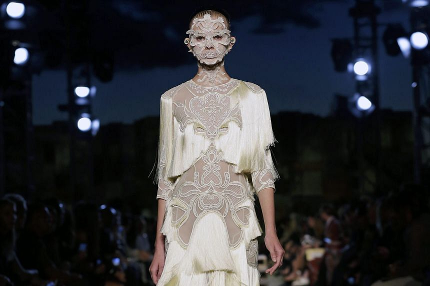 While the palette was mostly white and black, the outfits designed by Givenchy's Riccardo Tisci had a sensual theme (above).
