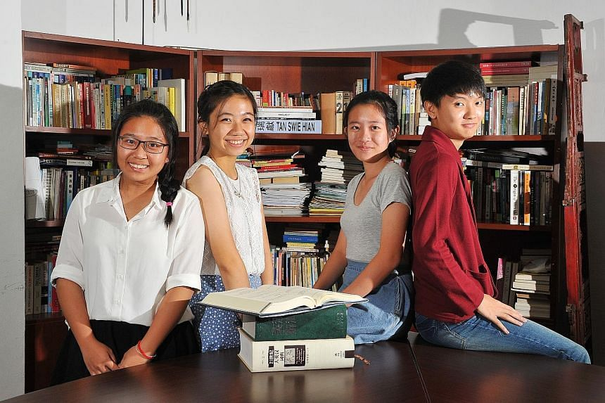 (From left) Students Debbie Abby Wong, Nicole Nurulam, Tricia Chee and Chung Ke Win from Jurong Junior College, who are taking translation for their A levels, interned at a translation firm during their June holidays to gain hands-on experience.