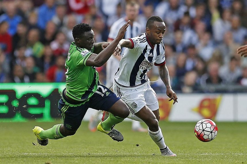 Southampton's Victor Wanyama (left) fails to get the better of West Brom's Saido Berahino in Saturday's 0-0 draw.